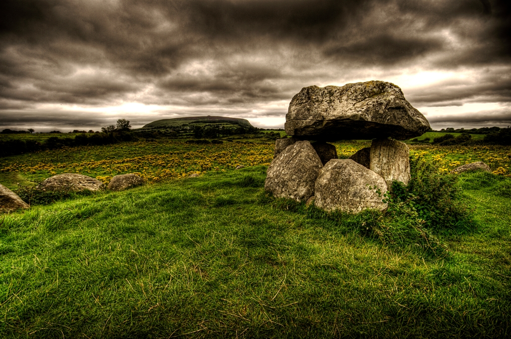 Queen Maeve's tomb in Ireland in Carrowmore, the oldest prehistoric burial ground in Europe.