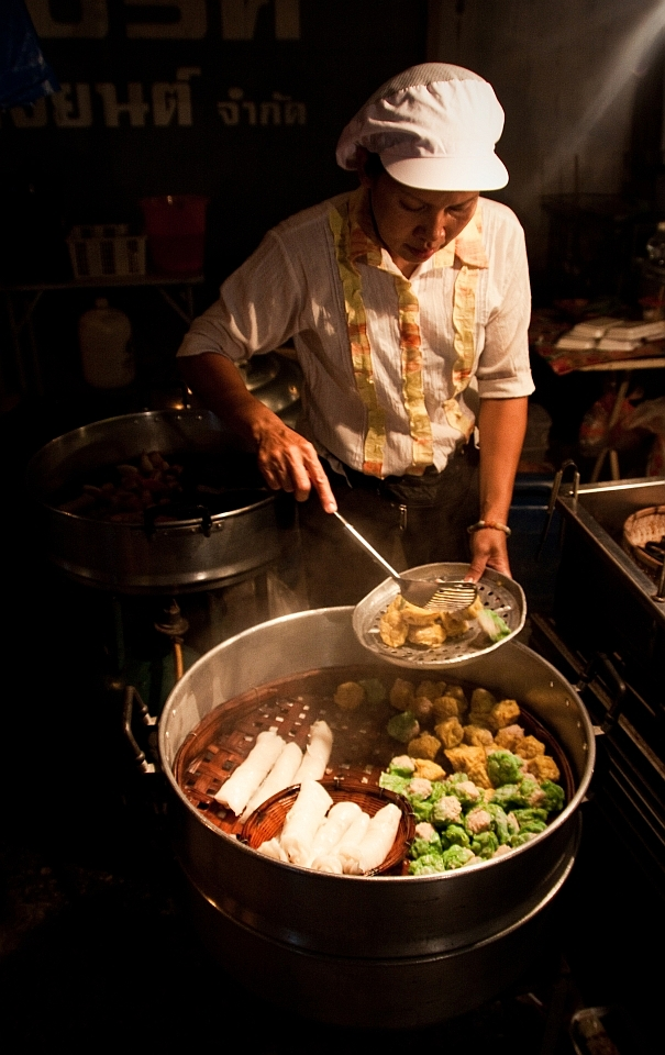 Dim sum lady at the saturday market in chiang mai thailand