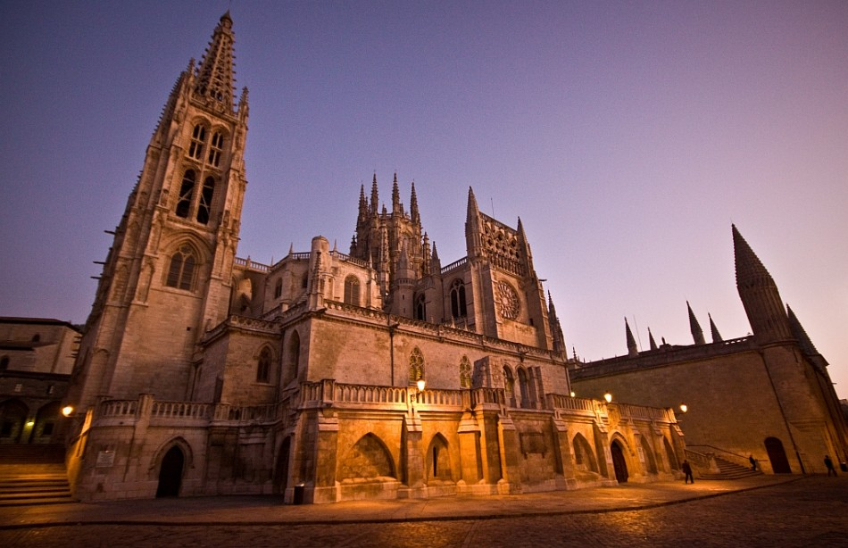 The Burgos cathedral at dawn on the camino de santiago in spain.