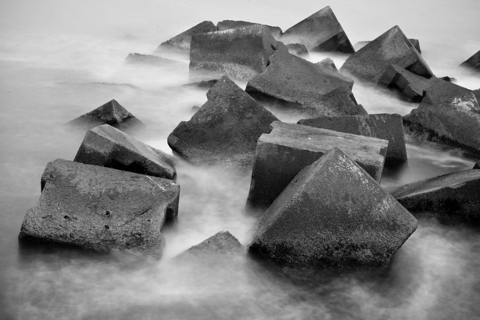 Giant concrete cubes in the mediterranean sea in Barcelona