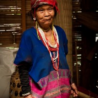 An old woman portrait from the White Karen hill tribe near Chiang Mai in Thailand.