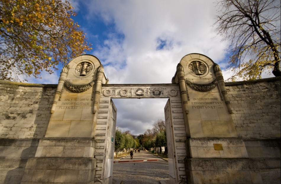 Entrance of the pere lachaise cemetery in Paris France