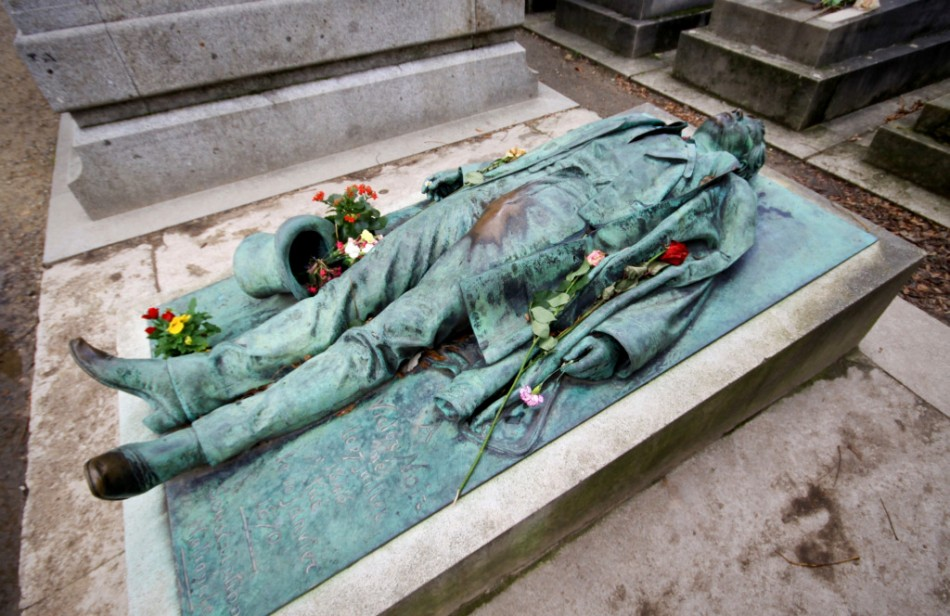 The most photographed grave in the Pere Lachaise cemetery in France.
