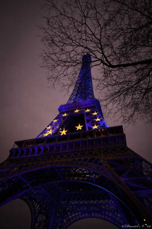 Starry Blue Eiffel Tower - France