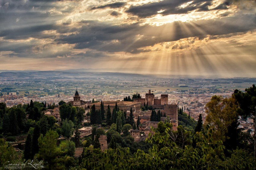 Overlooking the Alhambra in Granada, Spain
