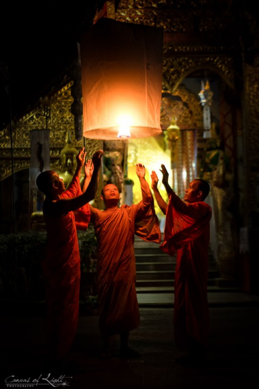 Three Monks and a Lantern - Thailand