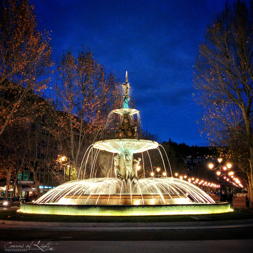 Granada Fountain at Night - Spain