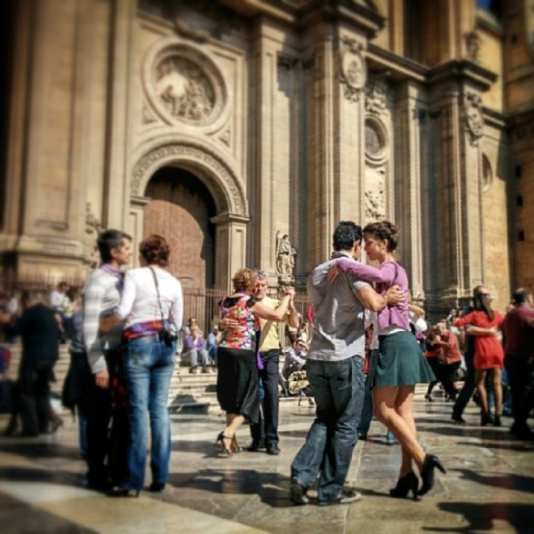 Tango show in front of the cathedral in Granada