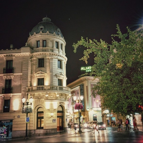 Downtown Granada at night.