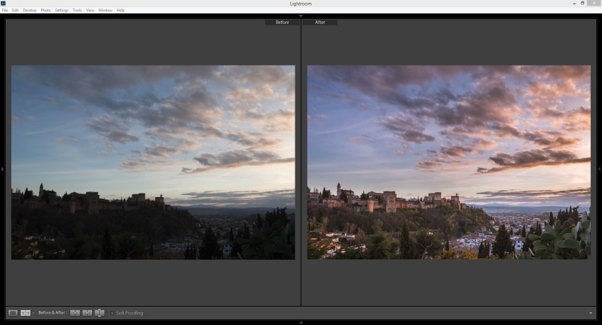 Before and After versions after fixing in Lightroom