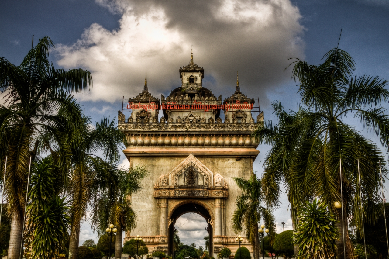 The victory monument called Patuxai in Vientiane Laos.