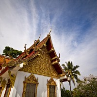 The Doi Suthep Temple over the mountain in Chiang Mai Thailand