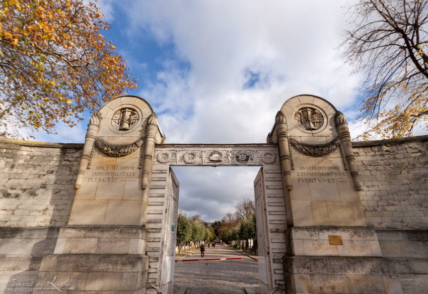 Pere Lachaise Cemetery entrance in Paris, France