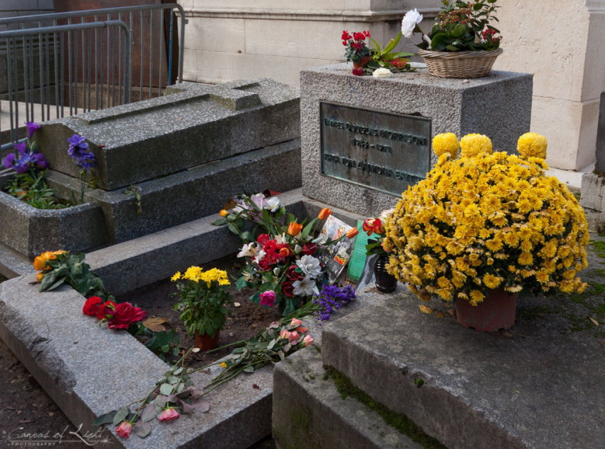 the grave of James Douglas Morrison, best known as Jim Morrison in pere lachaise cemetery in paris france