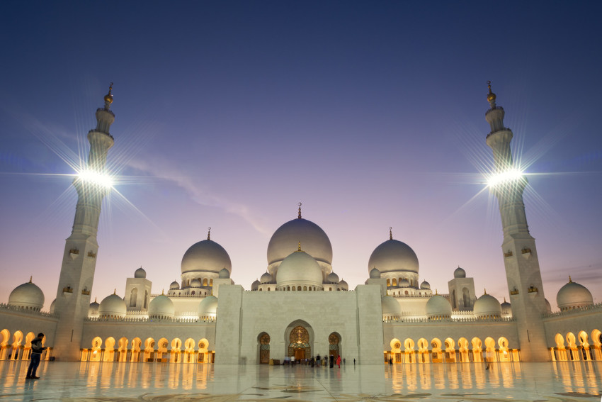 The Sheikh Zayed Mosque during sunset in Abu Dhabi, UAE