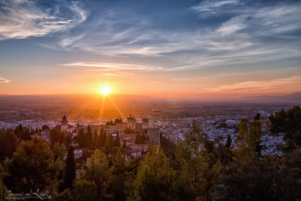 The last sun rays over Granada in Spain