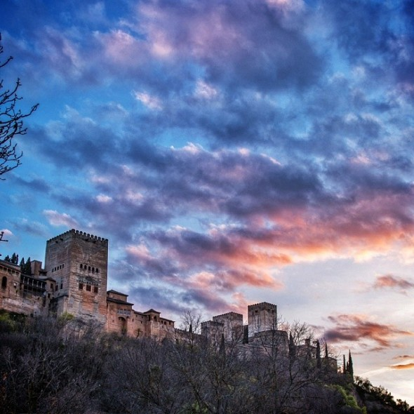 Sunset over the Alhambra in Granada