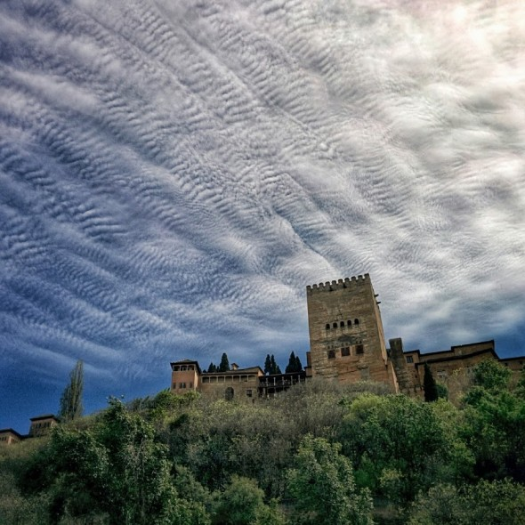 Beautiful Clouds over the Alhambra.