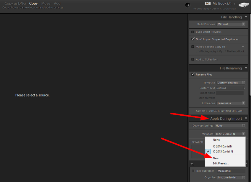 Apply during import panel to apply Metadata in Lightroom