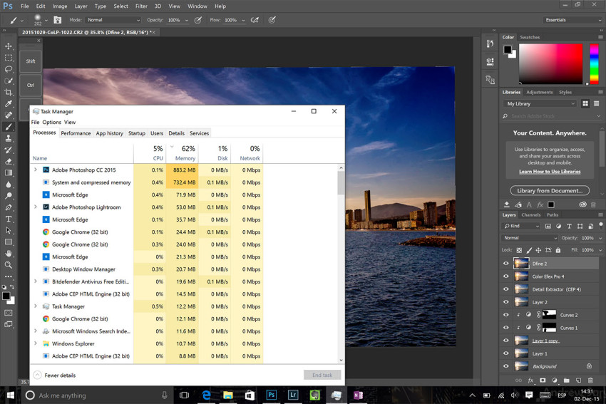 Ram Usage with Lightroom and Photoshop on Surface Pro 4