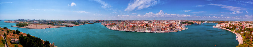 A panorama of brindisi in Italy, taken from the Sailor¡s monument.